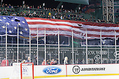 A flag was lowered from the green monster for the national anthem. - The University of Maine Black Bears defeated the University of New Hampshire Wildcats 5-4 in overtime on Saturday, January 7, 2012, at Fenway Park in Boston, Massachusetts.