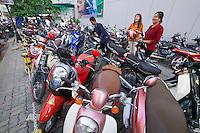 Phnom Penh, Cambodia.<br /> Motorbikes.