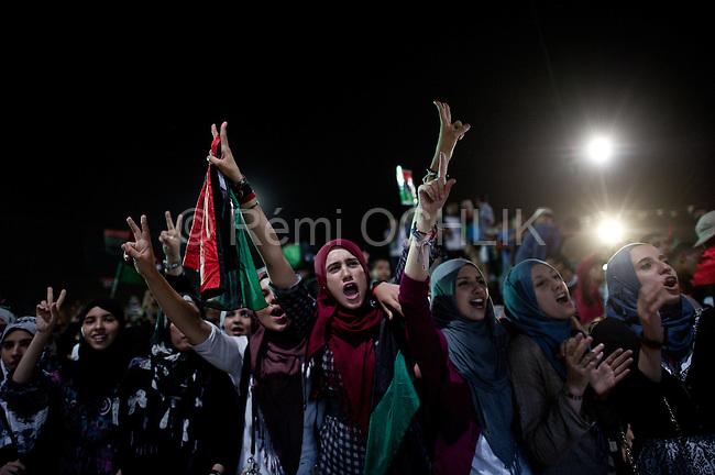 Remi OCHLIK/IP3 -  LIBYAN ARAB JAMAHIRIYA, Misrata : Libyans celebrate following the capture and death of Mouamar Kadhafi the day before in Syrte.  In the city of Misrata on October 21, 2011.