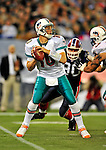 7 December 2008:  Miami Dolphins' quarterback Chad Pennington passes for an 18-yard gain in the first quarter against the Buffalo Bills in the first regular season NFL game ever to be played in Canada. The Dolphins defeated the Bills 16-3 at the Rogers Centre in Toronto, Ontario. ..Mandatory Photo Credit: Ed Wolfstein Photo
