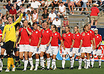14 July 2007: Norway's Christine Nilsen (1) leads her teammates onto the field before the game. The United States Women's National Team defeated their counterparts from Norway 1-0 at Rentschler Stadium in East Hartford, Connecticut in a women's international friendly soccer game.
