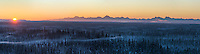 January sunrise over the Alaska Range mountains as seen from the city of Fairbanks, Alaska.