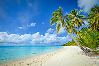 The white sandy beach at Amuri, Aitutaki Island, Cook Islands.