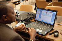 Switzerland. Geneva. World Health Organisation (WHO). Stop TB Partnership. Workshop with a group of national ambassadors against tuberculosis: Awad Ibrahim Awad, Sudan (North),TV presenter. Fujitsu Siemens computer. Sufan fights TB. PowerPoint, is a non-free commercial presentation program developed by Microsoft.  5.12.2011 © WHO /Didier Ruef
