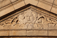 Sculptural detail on the pediment above the entrance to the Vestibule on the Phare de Cordouan or Cordouan Lighthouse, built 1584-1611 in Renaissance style by Louis de Foix, 1530-1604, French architect, located 7km at sea, near the mouth of the Gironde estuary, Aquitaine, France. This is the oldest lighthouse in France. There are 4 storeys, with keeper apartments and an entrance hall, King's apartments, chapel, secondary lantern and the lantern at the top at 68m. Parabolic lamps and lenses were added in the 18th and 19th centuries. The lighthouse is listed as a historic monument. Picture by Manuel Cohen