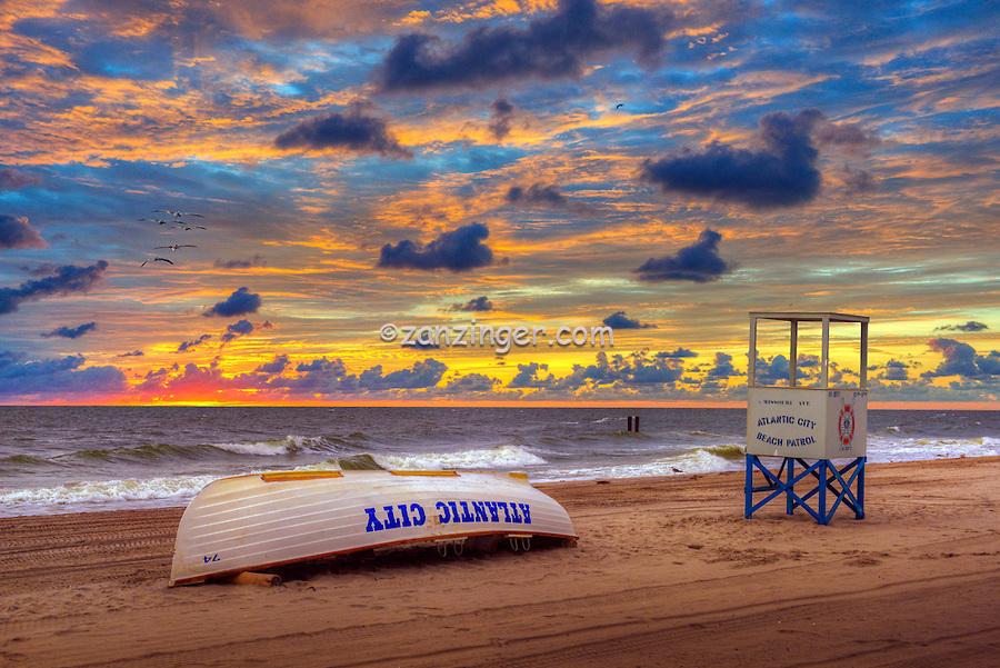 Atlantic City Lifeguard Boat, World-famous Boardwalk, Sand, Resort hotels,  Architecture;  New Jersey; Seaside Resort;