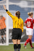 Referee Sandra Serafini. The women's national team of the United States defeated Canada 6-0 during an international friendly at Robert F. Kennedy Memorial Stadium in Washington, D. C., on May 10, 2008.