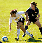 2 September 2007: University of Vermont Catamounts' Jessica Becker, a Freshman from Woodbridge, CT, in action against the George Washington University Colonials at Historic Centennial Field in Burlington, Vermont. The Colonials rallied to defeat the Catamounts 2-1 in overtime during the TD Banknorth Soccer Classic...Mandatory Photo Credit: Ed Wolfstein Photo