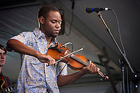 Cajun fiddler Cedric Watson of Cedric Watson and Bijou Creole performs on the Fais Do-Do stage during the New Orleans Jazz & Heritage Festival at the Fairgrounds Race Course in New Orleans, Louisiana, USA, 2 May 2009.