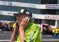 Jun 6, 2015; Englishtown, NJ, USA; NHRA funny car team owner Jim Dunn during qualifying for the Summernationals at Old Bridge Township Raceway Park. Mandatory Credit: Mark J. Rebilas-