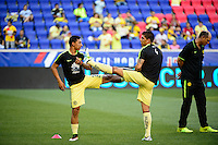 Harrison, NJ - Wednesday July 06, 2016: Gil Buron, Erik Pimentel during a friendly match between the New York Red Bulls and Club America at Red Bull Arena.