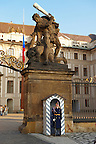 Guard sentry on the gates of Prague Castle - Czech Republic