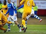 Motherwell v St Johnstone.....20.01.13      SPL.Nigel Hasselbaink (hidden) scores his goal.Picture by Graeme Hart..Copyright Perthshire Picture Agency.Tel: 01738 623350  Mobile: 07990 594431