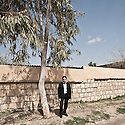 Iraq - Kurdistan - Ankawa -  Ewan Georget, a 16 year old Christian pupil standing in the courtyard of Ur Secondary Syriac School