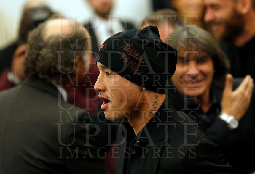 Il centrocampista belga della Roma Radja Nainggolan alla presentazione del progetto del nuovo Stadio della Roma, in Campidoglio, Roma, 26 marzo 2014.<br /> AS Roma midfielder Radja Nainggolan, of Belgium, at the presentation of the project of the AS Roma football club's new stadium at the Capitol Hill, Rome, 26 March 2014.<br /> UPDATE IMAGES PRESS/Riccardo De Luca