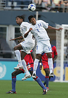 Walter Martinez (left) and Melvin Valladares (18) go up for the header. Honduras defeated Haiti 1-0 during the First Round of the 2009 CONCACAF Gold Cup at Qwest Field in Seattle, Washington on July 4, 2009.