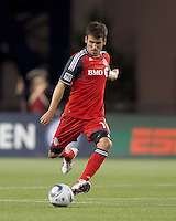 Toronto FC midfielder Nathan Sturgis (11) at midfield. In a Major League Soccer (MLS) match, the New England Revolution tied Toronto FC, 0-0, at Gillette Stadium on June 15, 2011.