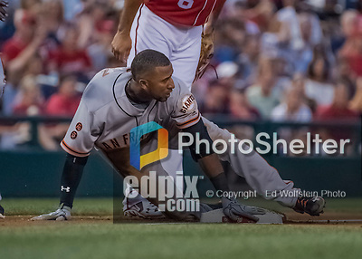 6 August 2016: San Francisco Giants third baseman Eduardo Nunez slides safely into third with a triple against the Washington Nationals at Nationals Park in Washington, DC. The Giants defeated the Nationals 7-1 to even their series at one game apiece. Mandatory Credit: Ed Wolfstein Photo *** RAW (NEF) Image File Available ***