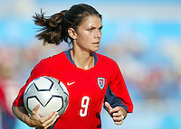 14 August 2004:   Mia Hamm in action against Brazil at Kaftanzoglio Stadium in Thessaloniki, Greece.   Mia Hamm scored a penalty kick goal during the second half of the game. USA defeated Brazil, 2-0. Credit: Michael Pimentel / ISI
