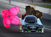 Oct. 27, 2012; Las Vegas, NV, USA: NHRA funny car driver Alexis DeJoria during qualifying for the Big O Tires Nationals at The Strip in Las Vegas. Mandatory Credit: Mark J. Rebilas-