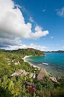 A view of Anse Louis beach where the Maia Luxury Resort & Spa is concealed amidst the lush vegetation