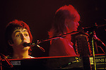Paul and Linda McCartney  Wings Tour 1975. Performance at Bristol, England..