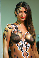 Mehron model poses with body paint, at the Makeup Show NYC, May 15 2011.