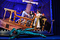 London, UK. 08.12.2015. Mischief Theatre Company presents PETER PAN GOES WRONG, at the Apollo Theatre. Co-written by Henry Lewis, Jonathan Sayer & Henry Shields, directed by Adam Meggido. Picture shows:  Dave Hearn (Crocodile), Jonathan Sayer (John Darling), Ellie Morris (Tootles), Henry Shields (Captain Hook), Charlie Russell (Wendy Darling), Henry Lewis (Starkey), Tom Edden (Cecco the Pirate). Photograph © Jane Hobson.