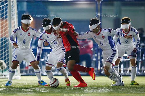 (L to R) Akihito Tanaka, Tomonari Kuroda, Yasuhiro Sasaki, Kento Kato (JPN), NOVEMBER 18, 2014 - Football 5-a-sider : IBSA Blind Football World Championships 2014 Group A match between Japan 0-0 Morocco at National Yoyogi Stadium Futsal Court, Tokyo, Japan. [1180]