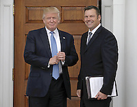 United States President-elect Donald Trump (L) and Kris Kobach Kansas Secretary of State pose at the clubhouse of Trump International Golf Club, in Bedminster Township, New Jersey, USA, 20 November 2016.<br /> Credit: Peter Foley / Pool via CNP /MediaPunch