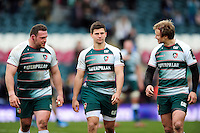 Greg Bateman, Ben Youngs and Matthew Tait of Leicester Tigers look on after the match. European Rugby Champions Cup quarter final, between Leicester Tigers and Stade Francais on April 10, 2016 at Welford Road in Leicester, England. Photo by: Patrick Khachfe / JMP