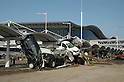 March 13, 2011: Cars washed by the tsunami sit close to the entrance of Sendai Airport terminal building, March 13, 2011. Photographed by Nobuyuki  Hyakutake. (Photo by Mainichi Newspaper / Aflo)