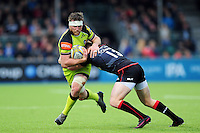 Brendon O'Connor of Leicester Tigers is tackled by Nick Tompkins of Saracens. Aviva Premiership match, between Saracens and Leicester Tigers on October 29, 2016 at Allianz Park in London, England. Photo by: Patrick Khachfe / JMP