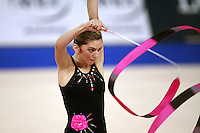 September 23, 2007; Patras, Greece;   Evanglia Gkountroumpi of Greece expresses with ribbon during gala exhibition at 2007 World Championships Patras.  Photo by Tom Theobald.