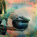 Ringing a Tibetan bowl. Photo based illustration.
