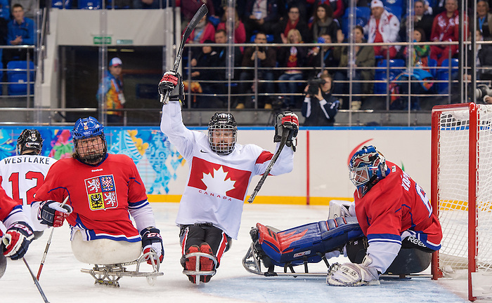 Sochi, RUSSIA - Mar 11 2014 -  Billy Bridges celebrates a goal as Canada takes on Czech Republic in Sledge Hockey at the 2014 Paralympic Winter Games in Sochi, Russia.  (Photo: Matthew Murnaghan/Canadian Paralympic Committee)