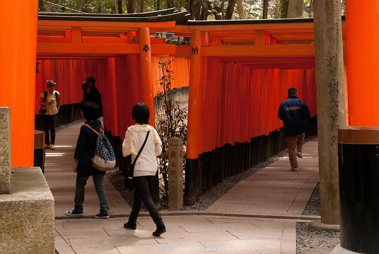 The famous torii (gates) of Fushimi Inari Shrine.