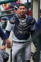 Catcher Gary Sanchez (35) of the Scranton Wilkes-Barre Railriders in the dugout against the Rochester Red Wings on May 1, 2016 at Frontier Field in Rochester, New York. Red Wings won 1-0.  (Christopher Cecere/Four Seam Images)