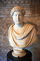 Marble statue bust of Emperor Hadrian at Hadrian's Villa ( Villa Adriana ) museum, Tivoli, Italy. A UNESCO World Heritage Site.