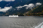 "The car ferry ""Queen of Surrey"" sails toward Horseshoe Bay, British Columbia, Canada"