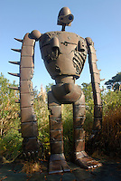 A robot figure on the roof of the museum. The character is from Miyazaki's film  Laputa (Castle in the Sky). The Ghibli Museum in Mitaka, western Tokyo opened in 2001. It was designed by animator Miyazaki Hayao and receives around 650,500 visitors each year.