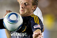LA Galaxy midfielder Chris Birchall traps a ball closely on his chest. Real Madrid beat the LA Galaxy 3-2 in an international friendly match at the Rose Bowl in Pasadena, California on Saturday evening August 7, 2010.