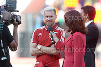 Aaron Ramsey is interviewed for the television coverage during the homecoming celebrations at the Cardiff City stadium on Friday 8th July 2016 for the Euro 2016 Wales International football squad.<br /> <br /> <br /> Jeff Thomas Photography -  www.jaypics.photoshelter.com - <br /> e-mail swansea1001@hotmail.co.uk -<br /> Mob: 07837 386244 -