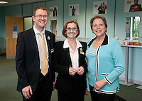 PIctured at the Women In Trains event from left are David Horne, MSD of East Midlands Trains, Adeline Ginn of WiT and keynote speaker Baroness Kramer