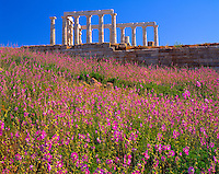 Temple of Poseidon, Attica Pennisula, Greece   Sounion Promontory Aegean Sea  5th Century B.C. Shrine to Sea God