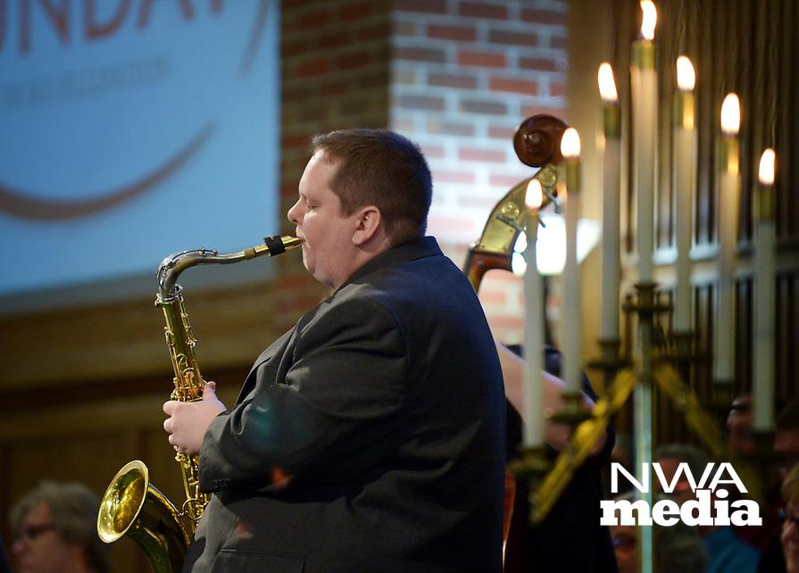 NWA Democrat-Gazette/BEN GOFF @NWABENGOFF<br /> Matt Schatz plays saxophone in a jazz quintet on Sunday Feb. 7, 2016 during the Jazz Communion service at First Presbyterian Church in Bentonville.