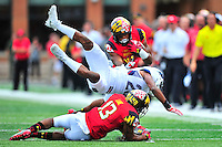 Terrapins DJ Moore looks for some running room. Maryland routed Howard 52-13 during home season opener at Capital One Field in College Park, MD on Saturday, September 3, 2016.  Alan P. Santos/DC Sports Box