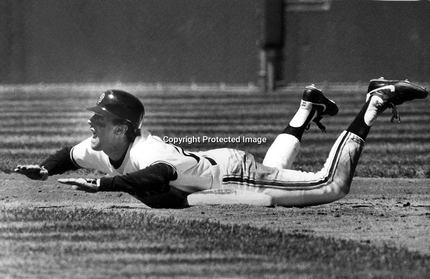 San Francisco Giants Will Clard dives into 2nd base with safe call...(1986 photo/Ron Riesterer)