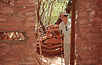 Flo is looking into an abandoned shelter at Palataki Ruins in Sedona, Arizona.