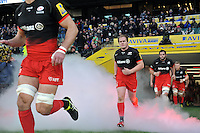 Rhys Gill and the rest of the Saracens team run out onto the field. Aviva Premiership match, between Saracens and Worcester Warriors on November 28, 2015 at Twickenham Stadium in London, England. Photo by: Patrick Khachfe / JMP